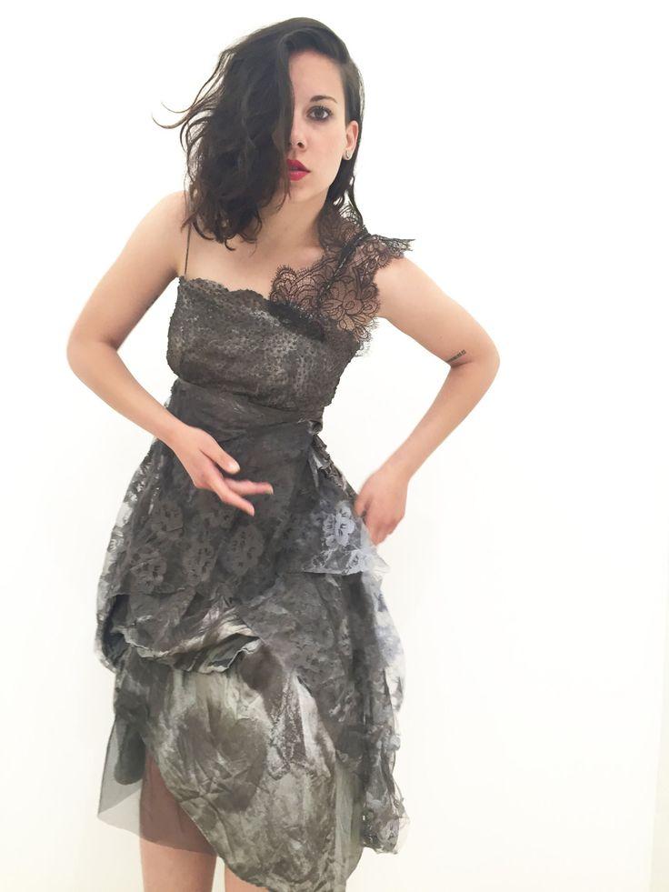Dark Brown Lace Evening Dress/ Wedding/ Bridal Party/ Hand Painted LOLA DARLING 35/ Glitter Dots/ Lace and Satin di loladarlingirl su Etsy