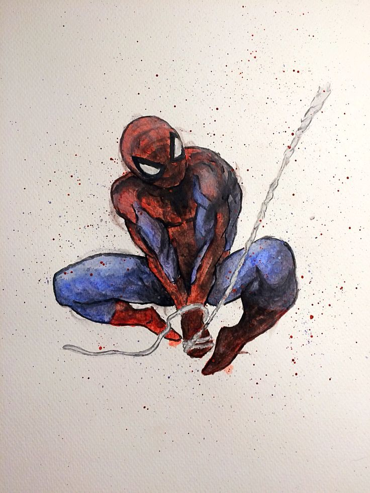 peter parker spider-man watercolor painting by me