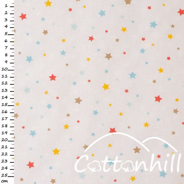 tkanina bawełniana GWIAZDKI KOLOROWE 0,5mb - CottonhillFabric - Bawełna
