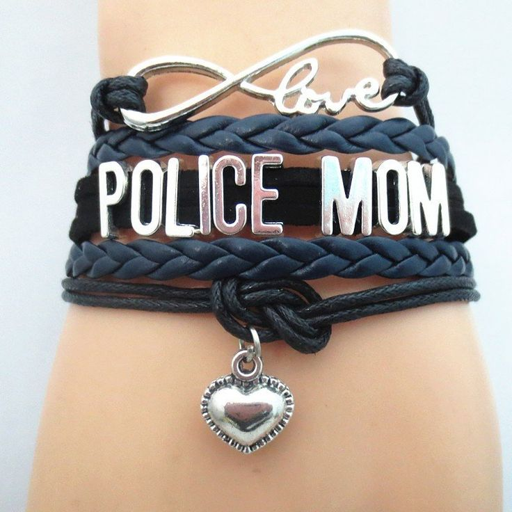 Infinity Love Police Mom Bracelet - FREE SHIPPING - Hand Made Leather Strap Wrap