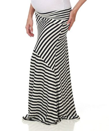 Loving this White & Black Stripe Maternity Maxi Skirt on #zulily! #zulilyfinds $26.99, regular 48.00