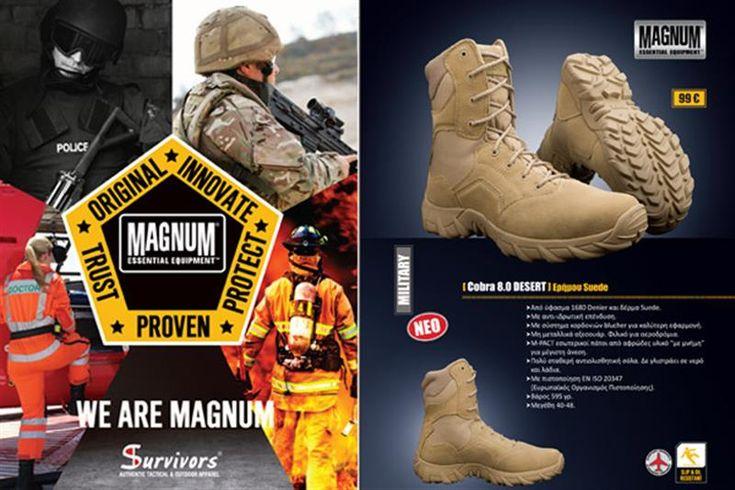 "MAGNUM - SURVIVORS Δεκαεξασέλιδο έντυπο για την Survivos ""WE ARE MAGNUM"" με στρατιωτικά και επιχειρησιακά άρβυλα Magnum. Μέγεθος ανοιχτό Α4 (21 x 29,7cm), κλειστό A5 (14,8 x 21cm), σε χαρτί Illustation 200 gr."