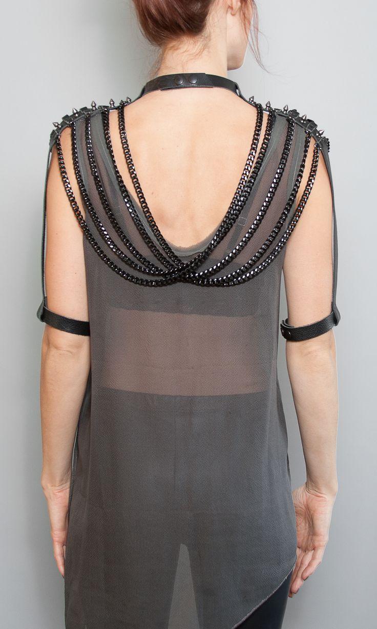 Blair Shoulder Chain Back detail.  #jakimac #harness #bodychain #cuff…