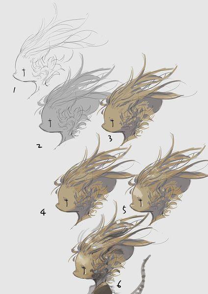 村山竜大 | ask.fm/ovopack 髪の毛や毛の質感が上手く描けません、何かコツや練習方法とかあるのでしょうか? 描き方の質問が多いのでテキトーですが画像作ってみました。 毛の描き方といっても毛の種類によって様々なので、とりあえず「長毛ストレート」「くせっ毛」「スエード」の3パターンくらい描き分ければとりあえず様になるんじゃないかと思います。 毛は最初から描き込もうとはせず、ラフ段階で立体のアタリを初めにとったほうがやりやすいと思います。 途中で中間色や明るい部分など足していって、形と質感を段階的に取ったほうが描く方も理解しやすいんじゃないかなーと。 ハイライトとの境界線に差し色なんか入れると、分光した感じが出て地味なキャラも映える気がする! ちなみに暗い色を置く時は、いたるところに置くとゴチャゴチャしちゃうので注視点を意識して、気をつけておいたほうがいいです。 顔周りはむしろシンプルにまとめたほうがキャラ立ちするし今風なんじゃないかと。