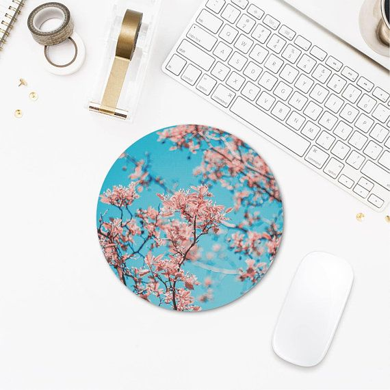 Floral Mousepad Pink Flowers Mouse Pad Photo Round Mousepad