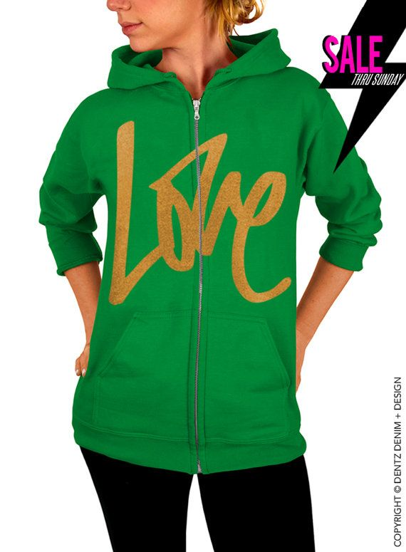 """Use coupon code """"pinterest"""" Graffiti Love - Valentine's Day - Green with Gold Zip Up Hoodie by DentzDenim"""