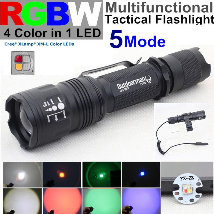 5 mode CREE XM-L RGBW 4 color in 1 LED red blue green white Police torch Tactical Flashlight