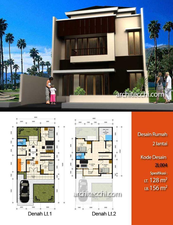 Desain Rumah 2 Lantai  Desain Rumah Lebar 8 meter  Desain Rumah 5 Kamar Tidur  Desain Rumah Type 156
