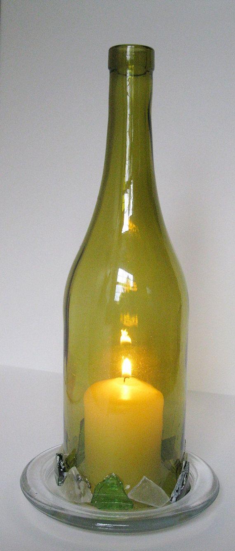 Garrafa de Vinho Vela Lanterna Cafe Candle vidro reciclado