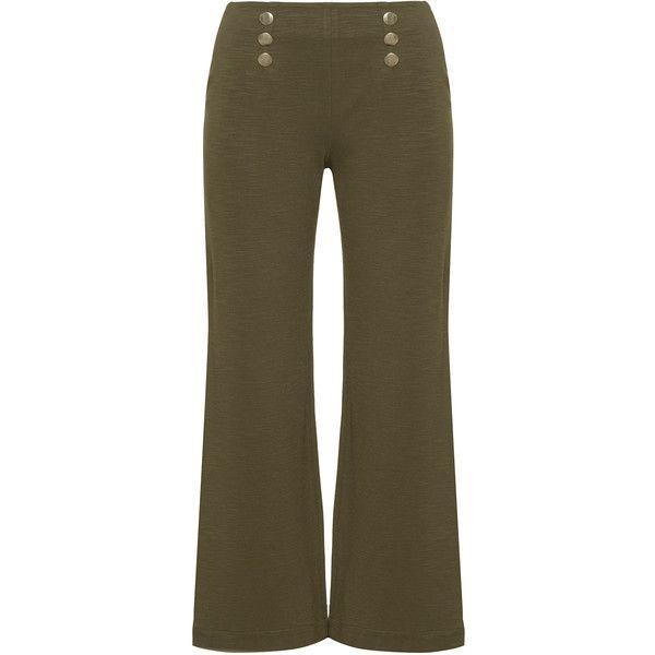 Manon Baptiste Khaki-Green Plus Size Button detail wide leg trousers ($150) ❤ liked on Polyvore featuring pants, plus size, brown pants, womens plus size khaki pants, long pants, green pants and straight leg pants