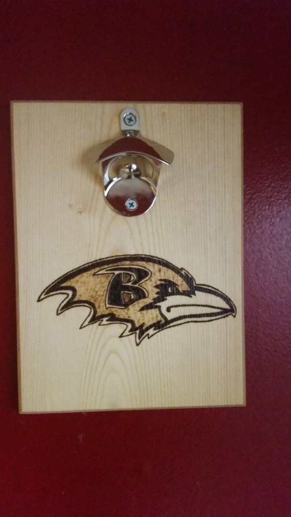 Baltimore ravens custom wood burned bottle opener with magnetic cap catcher
