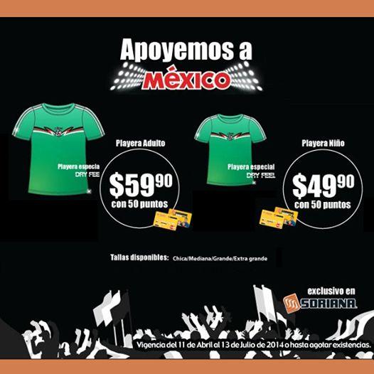 ¡Apoya a @Selección Mexicana  y a la selección de #fútbol en Brasil! Aprovecha tus puntos y obtén tu playera.