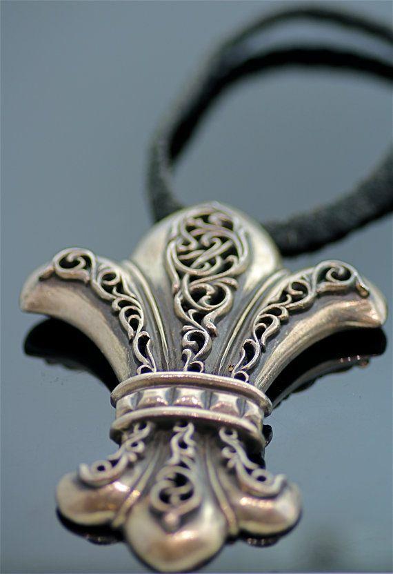 Vintage Chrome Hearts Fleur de Lis Necklace via Etsy