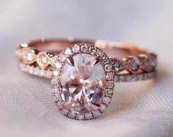 SET Morganit Engagement Ringe in 14K Rose Gold Halo von Studio1040