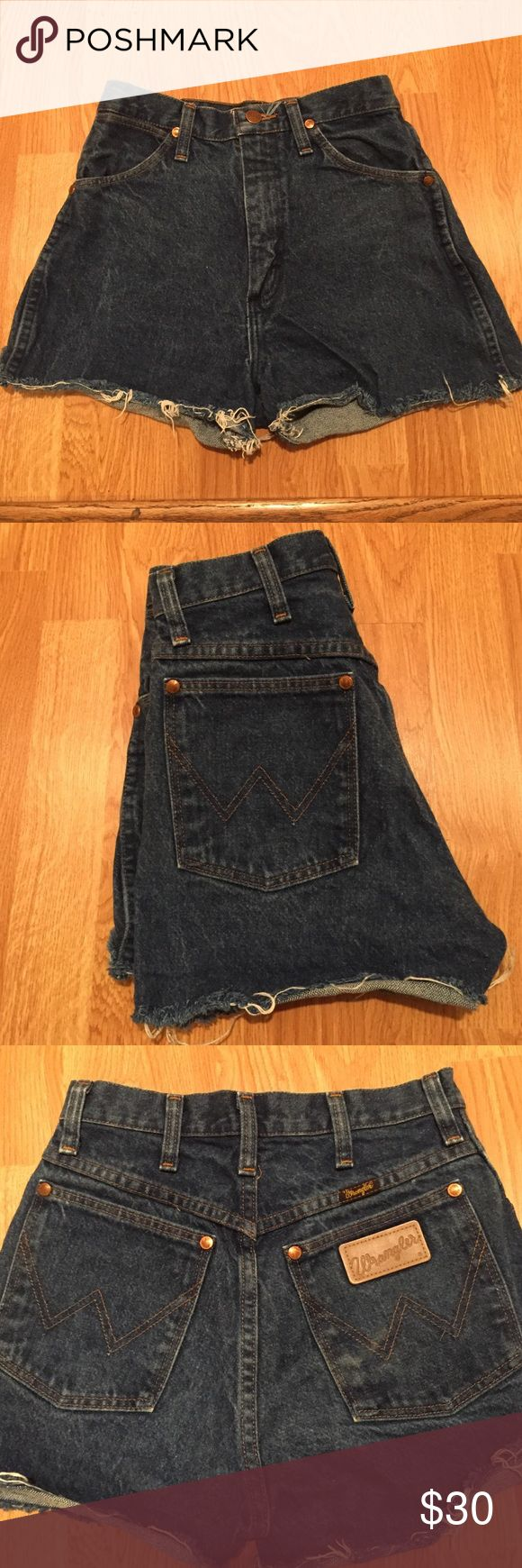 Jean cutoff shorts Dark blue denim cut off shorts. Awesome wranglers. Fit like a glove, lightly worn but in flawless condition!! Comfortable but not stretchy. Just don't fit me anymore! Wrangler Shorts Jean Shorts
