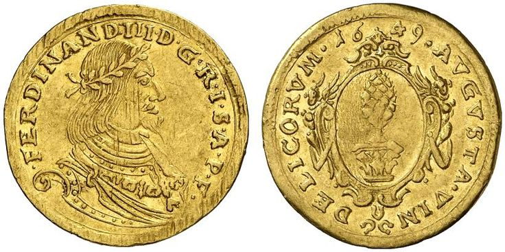 AV Ducat. Germany Coins, Augsburg, Free City. Title of the Emperor Ferdinand III. 1637-1657. 1649. 3,47g. F 61. VF of better. Price realized 2011: 1.100 USD.