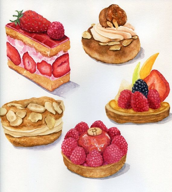 ORIGINAL Painting - French Pastries, Colorful Food Illustration (Vintage Style Illustration, Fuits Dessert Watercolors Wall Art, Still Life)