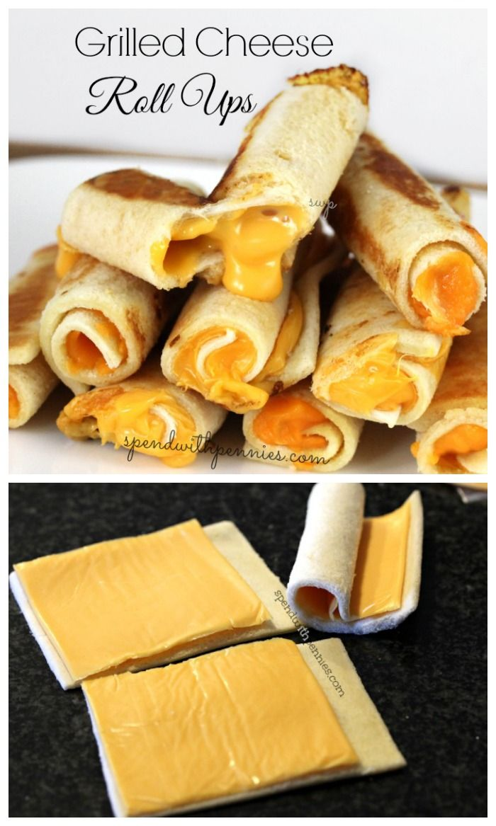 Grilled Cheese Roll Ups!  Melty cheese rolled up in bread and cooked crispy!