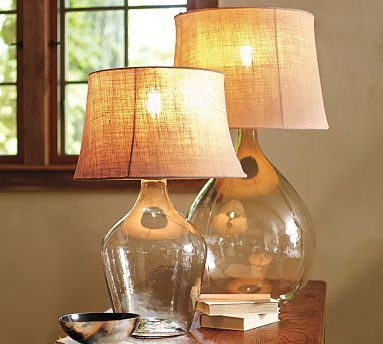 Glass lamps - DIY with glass juice jugs? Love them clear, but could fill them up with many cool things too.
