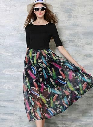 Chiffon Color Block Half Sleeve Mid-Calf Casual Dresses (1012554) @ floryday.com