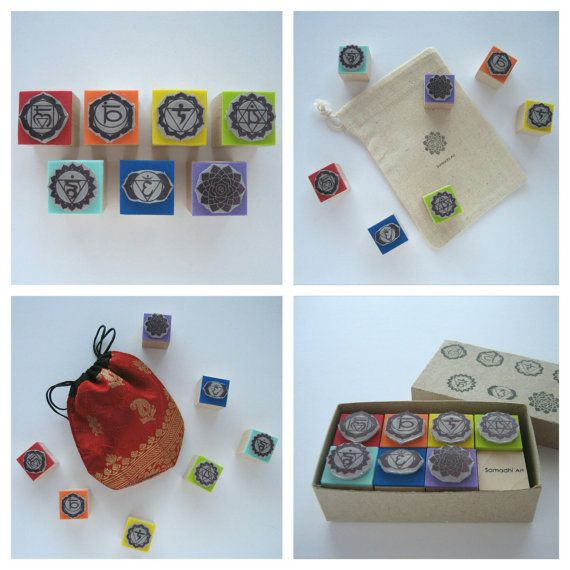 SET OF 7 CHAKRAS RUBBER STAMPS. Ideal for stamping on envelopes, cards, notebooks, gift tags, paper bags, boxes, fabrics, Scrapbooking, etc.  Features: ✭ 7 rubber stamps, cutted and mounted by hand on foam and a wooden block, to stamping easily. The stamp is made of polymer, a material that gives a high quality and definition to the printed image, a fact that contrast to other rubber stamps.  ✭ Options: you can choose from - The set of 7 stamps - The set of 7 stamps + 1 cotton bag in natural…