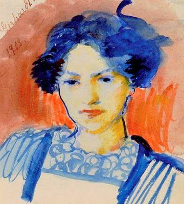 MACKE, August  (1887-1914) German artist  ~  ''Elisabeth Gerhardt, his wife'
