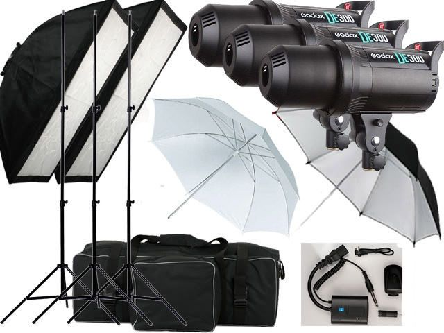 900w Flash kit Godox DE-300 Photography Studio Strobe light 3 x 300w Bowens Fit