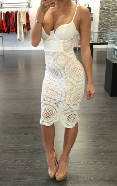 White Bustier Bodycon Crochet Lace Cocktail Celebrity Dress