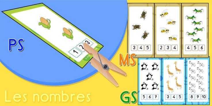 Maths Maternelle, Cartes pour Apprendre les nombres | Dénombrement, Maths PS, MS, GS