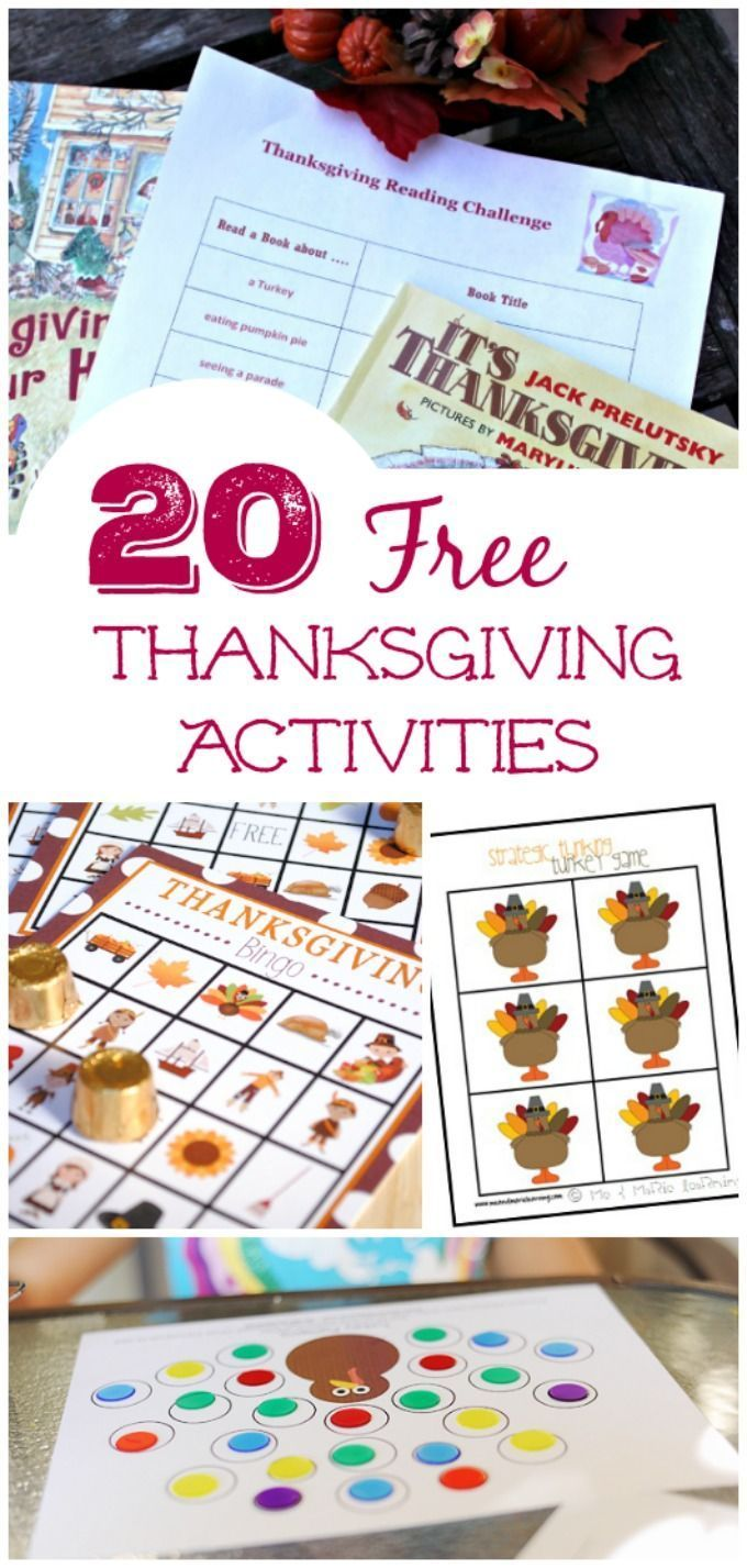 Kids will love these great printable games & activities for Thanksgiving -- enjoy them before the holiday or as a dinner activity at the kids table!