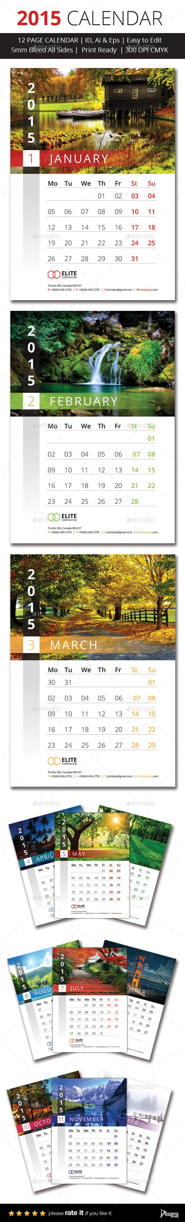 2015 Wall Calender Template | Buy and Download: http://graphicriver.net/item/2015-wall-calender/9749185?ref=ksioks