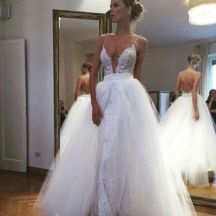 2017 new spaghetti straps deep v neck backless unique sexy wedding dresses db0002