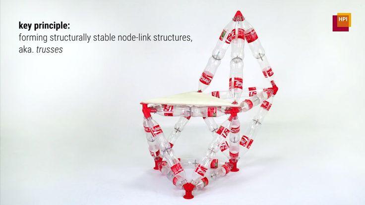 使用済みペットボトルを利用し大型構造物を構築できる3Dプリントパーツ生成ソフトウェア『TrussFab』 ドイツのHasso Plattner Instituteの研究者たちは、使用済みペットボトルを材料にしたエコプロジェクト及び災害時などに応用できる技術として、屋外避難所のような大型構造物から椅子やボートまで、様々な用途に対応したトラス構造(複数の三角形による骨組構造)の構造物を、ペットボトルと3Dプリントパーツで構築できる自動計算ソフトウェア『TrussFab』を開発。  横方向からの圧力で簡単に潰れてしまうペットボトルも、主軸に沿った変形(押しつぶしや引っ張り)に対しては十分な強度を示す物がある。 この特徴を利用したTrussFabは、トラス構造により加重が主軸方向に対して正確に伝わるよう自動計算し、組み立て用ハブモデルデータを生成する独自のアルゴリズムを採用。  このアルゴリムにより各ペットボトルを接続するためのトラスコネクタモデルを自動生成するTrussFabは、計算結果に基づいて生成されたモデルデータを、3Dプリント用データとして書き出すことができる。…