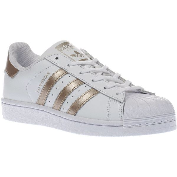Womens White & Rose Gold Adidas Superstar Trainers | schuh (26.385 HUF) ❤ liked on Polyvore featuring shoes, sneakers, adidas, rose gold trainers, adidas trainers, adidas shoes and white shoes