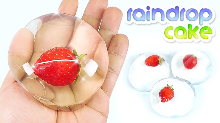~How to make Edible Strawberry RAINDROP CAKE - Water Cake - ooooo!!! ahhhhh!!!~