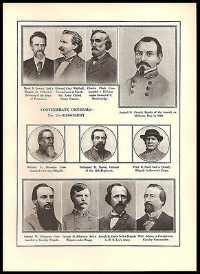 Mississippi Confederate Army Generals Identified Civil War Print