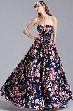 Trägerlos Schatz Sommer Blumenkleid Bedrucktes Kleid (07151568) #Abendkleid #Ballkleid #Mode #eDressit