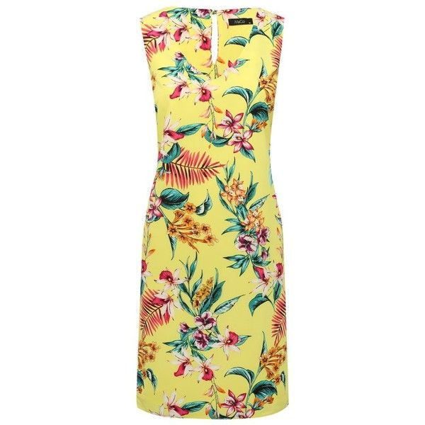 M&Co Tropical Floral Print Shift Dress ($46) ❤ liked on Polyvore featuring dresses, citrine, shift dresses, evening dresses, floral print dress, beige evening dress and special occasion dresses