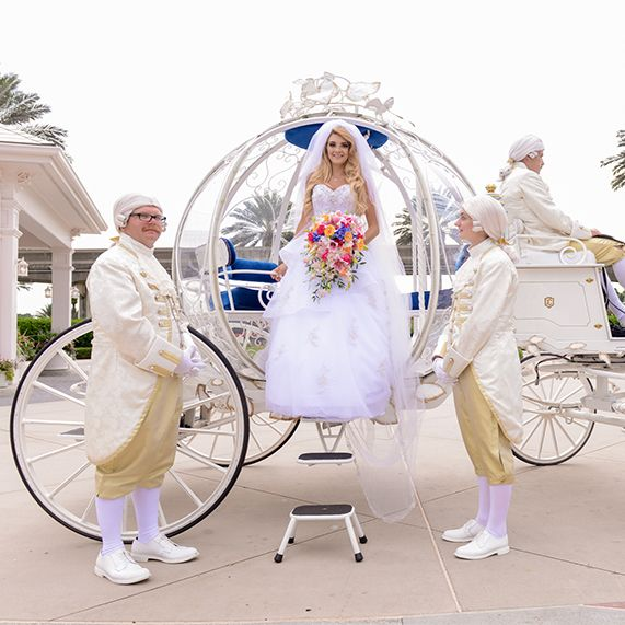 Cinderella inspired bridal moment at Disney's Fairy Tale Weddings & Honeymoons