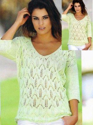 Летний пуловер с узором тюльпаны