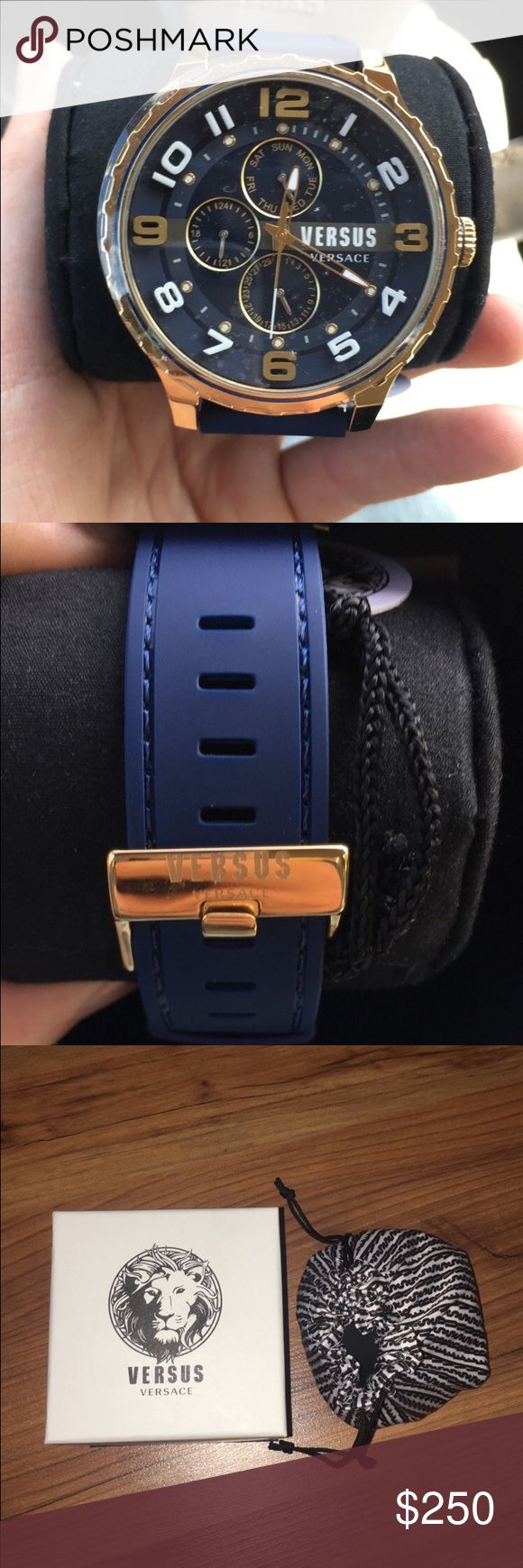 Men's Versus By Versace Gold/Navy Blue Watch * Brand New w/ original box * Comes w/ protective bag, box, and international warranty card * Retail Price: $395 Versus By Versace Accessories Watches