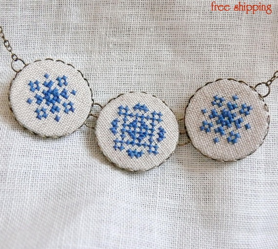 Ukrainian cross stitch necklace.