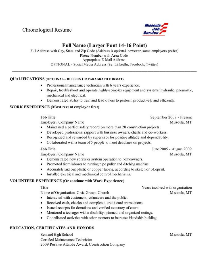 "Chronological Resume-This is a fairly standard layout for a chronological resume. Education and work history are usually listed  in ""reverse chronological"" order-most recent events first or topmost and then the next in line and so on."