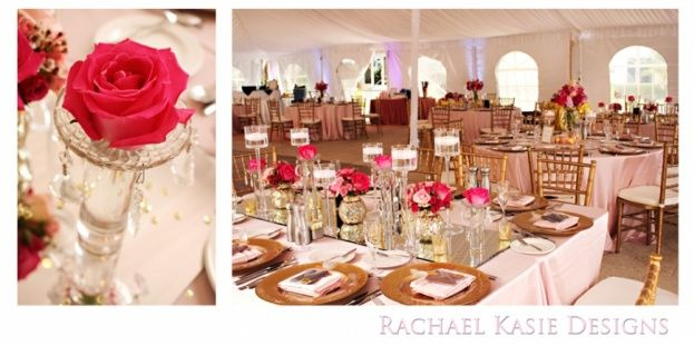 Gold chiavari chairs and chargers by a Chair Affair Event Rentals Orlando look perfect with a pop of pink roses at Hammock Beach Resort.