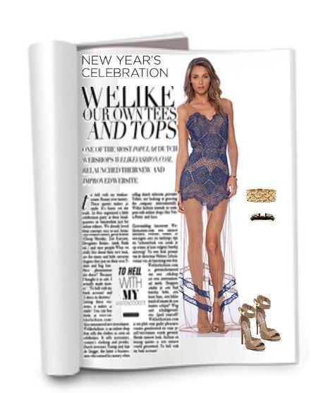 Новогодний образ 2015 : длинное синее кружевное платье,  fashion look with blue lace dress