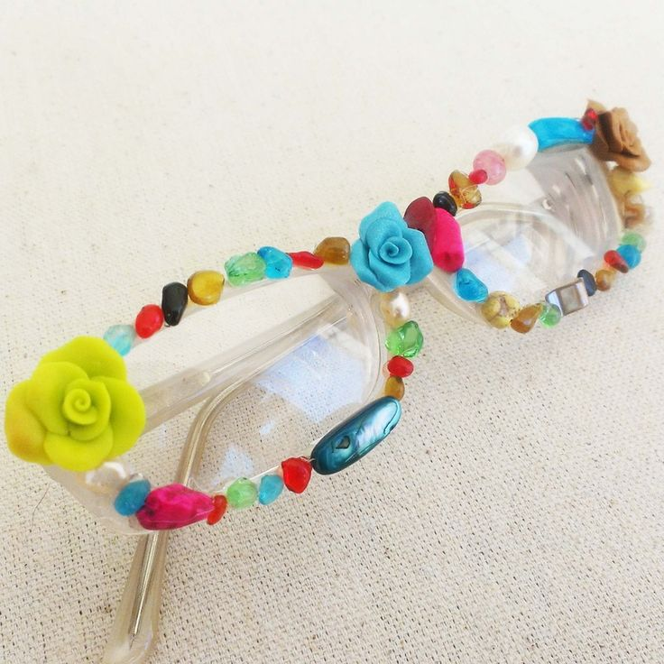 DIY embellished glasses, fun to do with an old pair of sunglasses too!