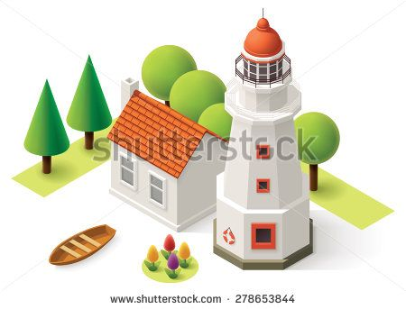 Isometric lighthouse building with small house - stock vector