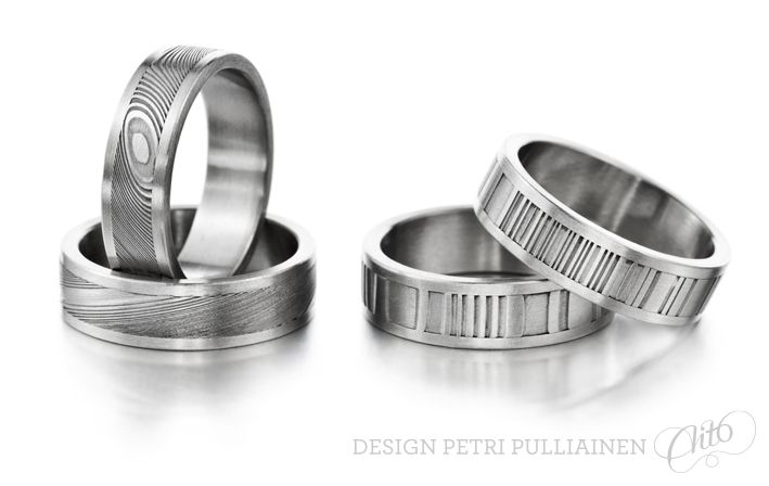 Set of four Damascus steel ring. Photo Mikael Pettersson