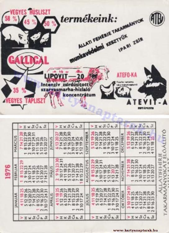 1976 - 1976_0817 - Régi magyar kártyanaptárak