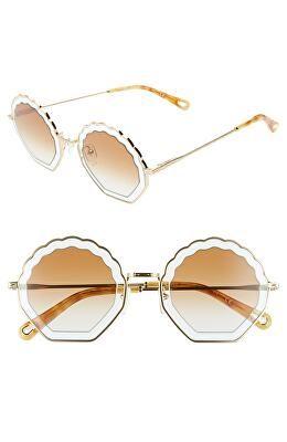 95ccc126982dc6 CHLOÉ Designer Tally 56mm Scalloped Sunglasses Gold Sunglasses